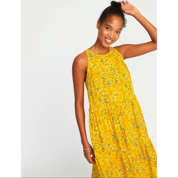 bc1d81f6c39a1  Old Navy  Yellow Tiered Swing Dress